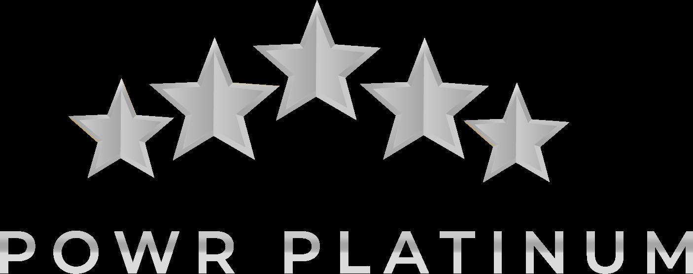 5 Platinum Stars with the words POWR Platinum beneath
